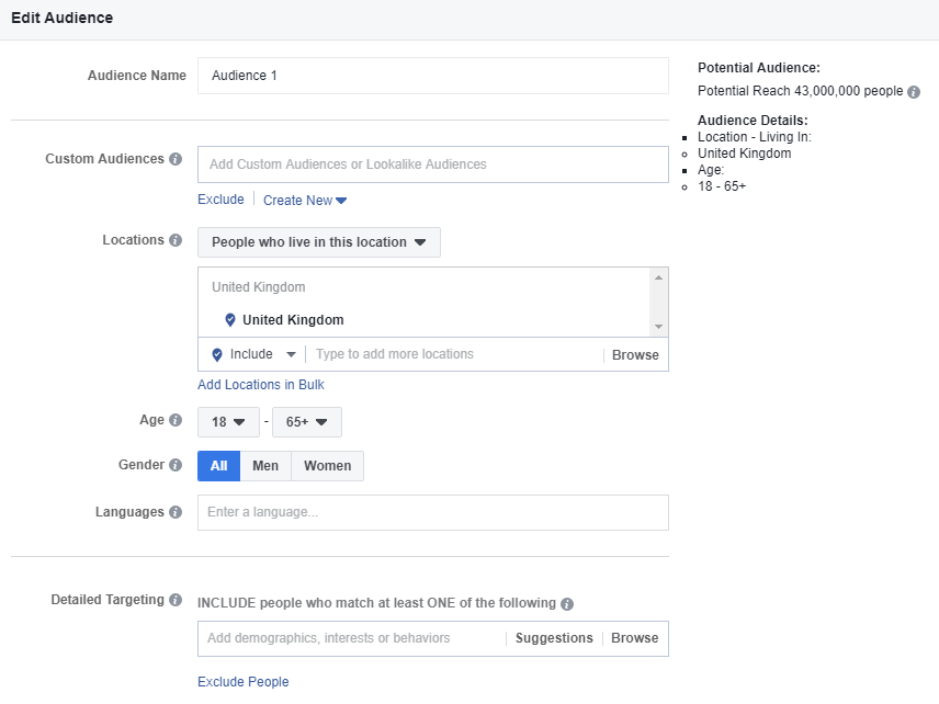 Facebook Ads Audience Targeting