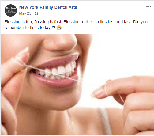 Facebook post about flossing