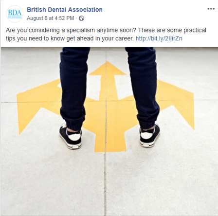 Facebook post about dental specialisms