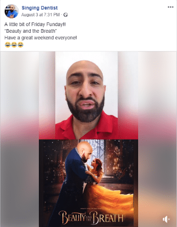 Singing Dentist Facebook post