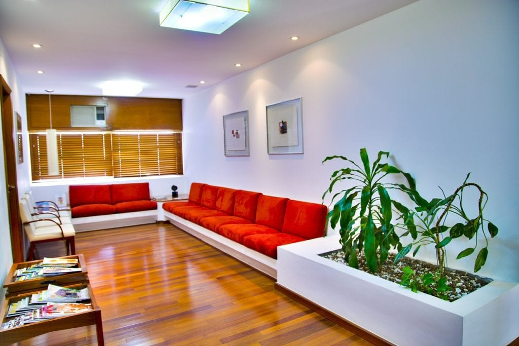 Waiting Room with Red Sofas
