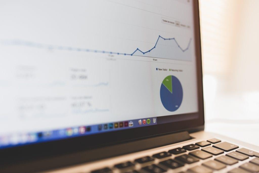 Charts in Google Analytics on laptop