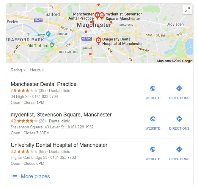 "Google local search result example - ""dentist manchester"""
