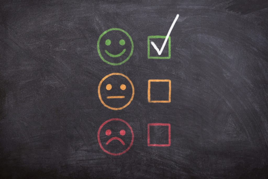 Chalkboard with happy, neutral & sad faces - reviews